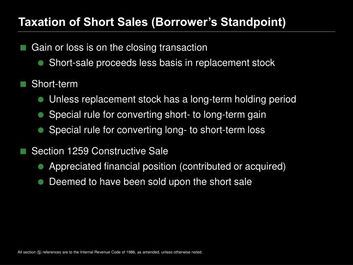 Taxation of Short Sales (Borrower's Standpoint)