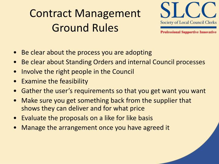 Contract Management Ground Rules