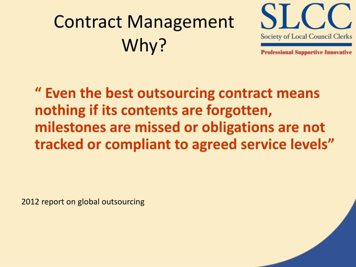 Contract management why