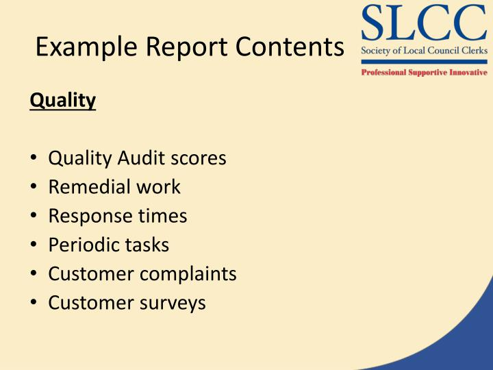Example Report Contents