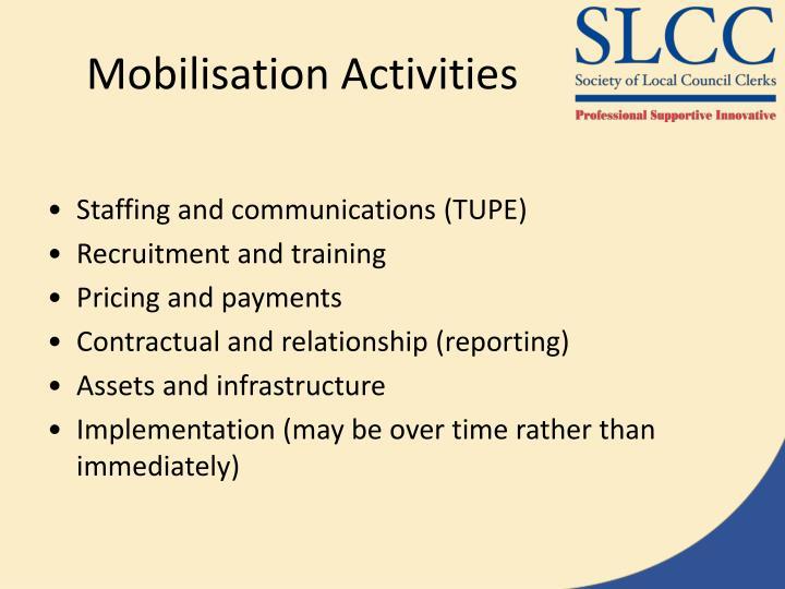 Mobilisation Activities