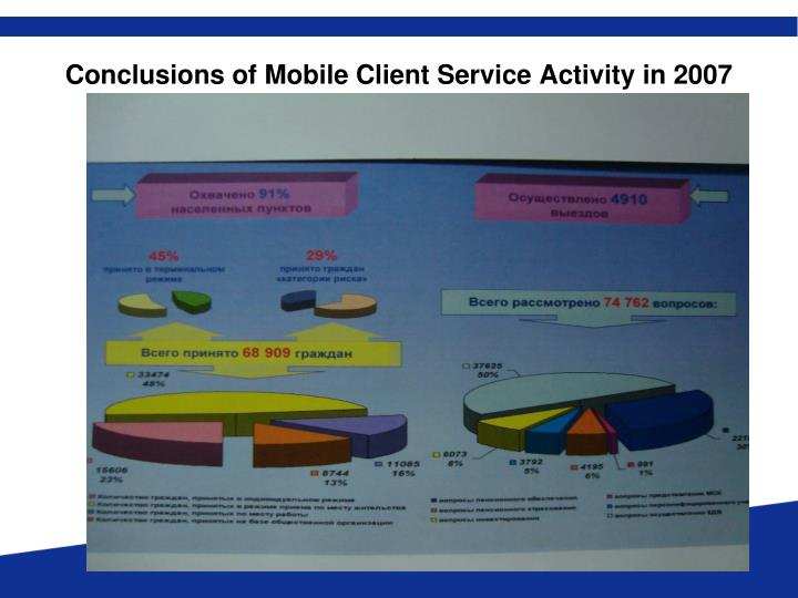 Conclusions of Mobile Client Service Activity in 2007