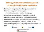 bariery uwarunkowania zwi zane z otoczeniem polityczno prawnym