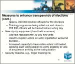 measures to enhance transparency of elections cont