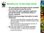 benefits iv to the wider world
