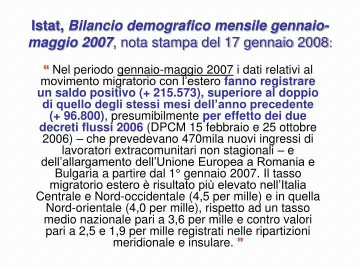 Istat bilancio demografico mensile gennaio maggio 2007 nota stampa del 17 gennaio 2008