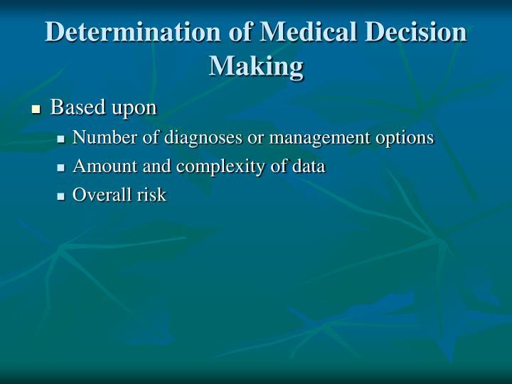 Determination of Medical Decision Making