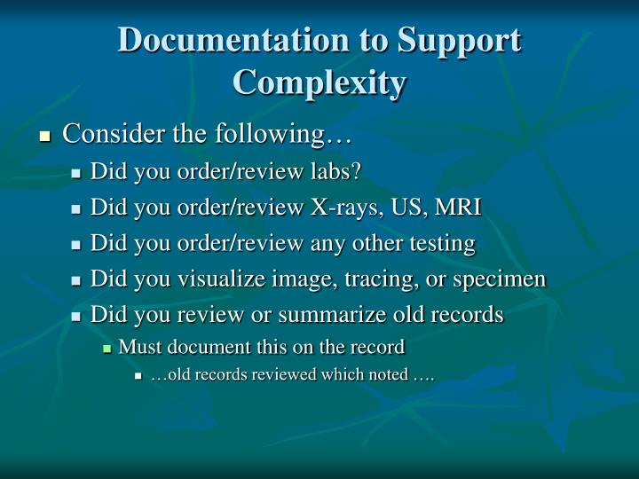 Documentation to Support Complexity