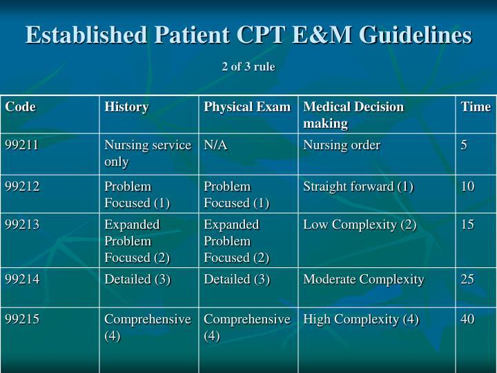 Established Patient CPT E&M Guidelines