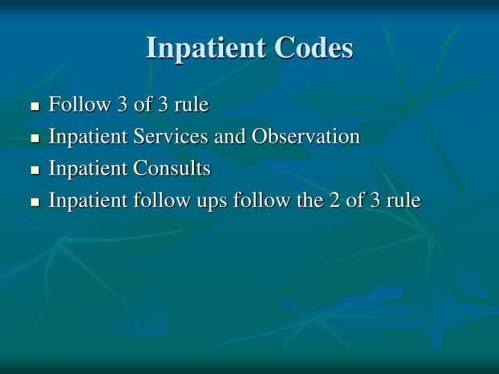 Inpatient Codes