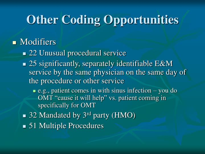Other Coding Opportunities