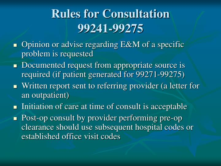 Rules for Consultation