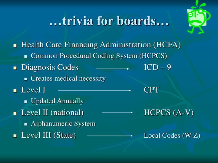 …trivia for boards…