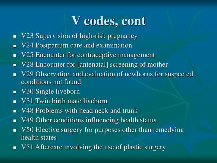 V codes, cont