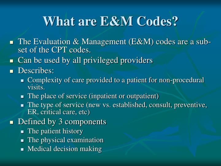 What are E&M Codes?