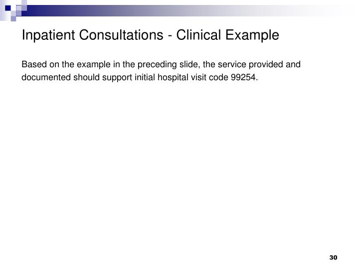 Inpatient Consultations - Clinical Example