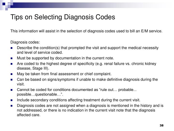 Tips on Selecting Diagnosis Codes