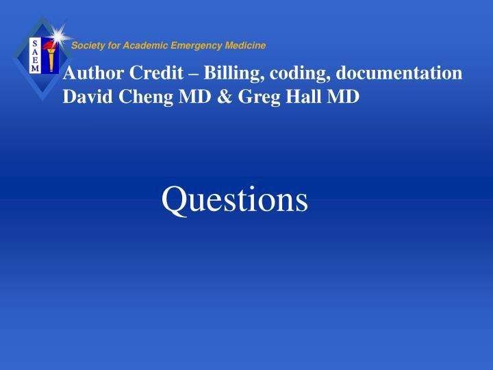 Author Credit – Billing, coding, documentation