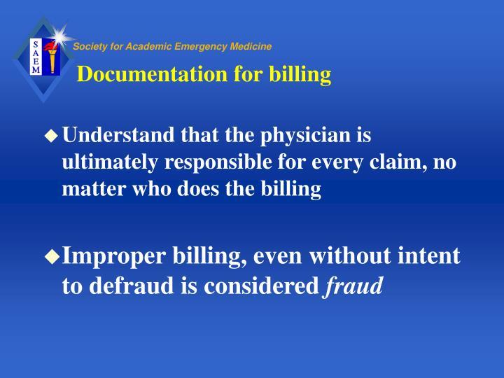 Documentation for billing