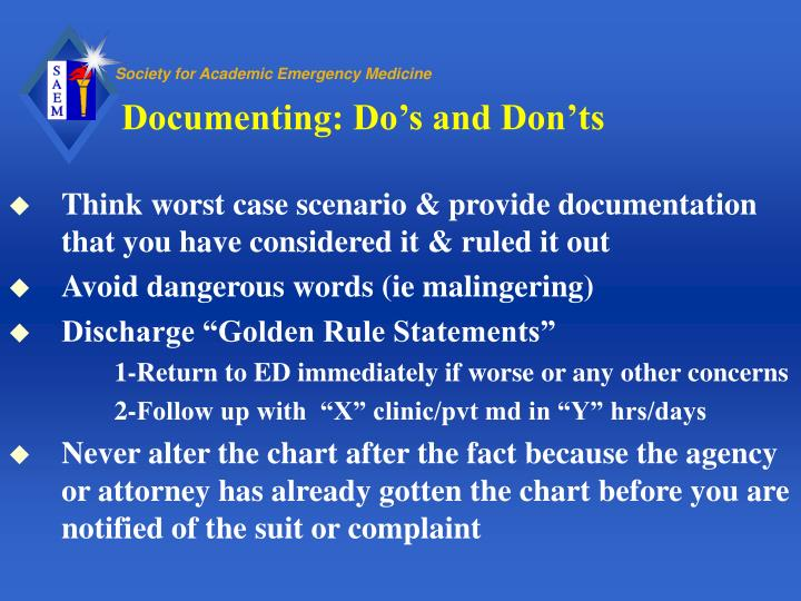 Documenting: Do's and Don'ts