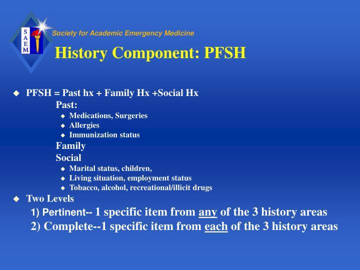 History Component: PFSH
