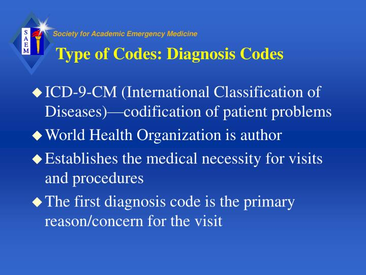Type of codes diagnosis codes