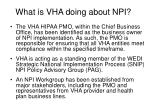 what is vha doing about npi