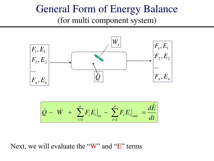 General Form of Energy Balance