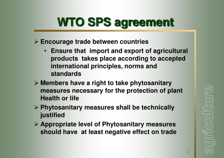 Wto sps agreement