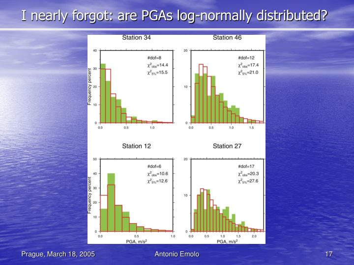 I nearly forgot: are PGAs log-normally distributed?