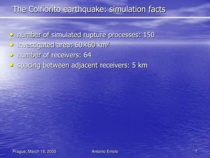 The Colfiorito earthquake: simulation facts
