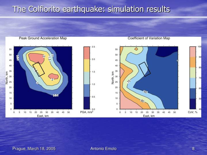 The Colfiorito earthquake: simulation results