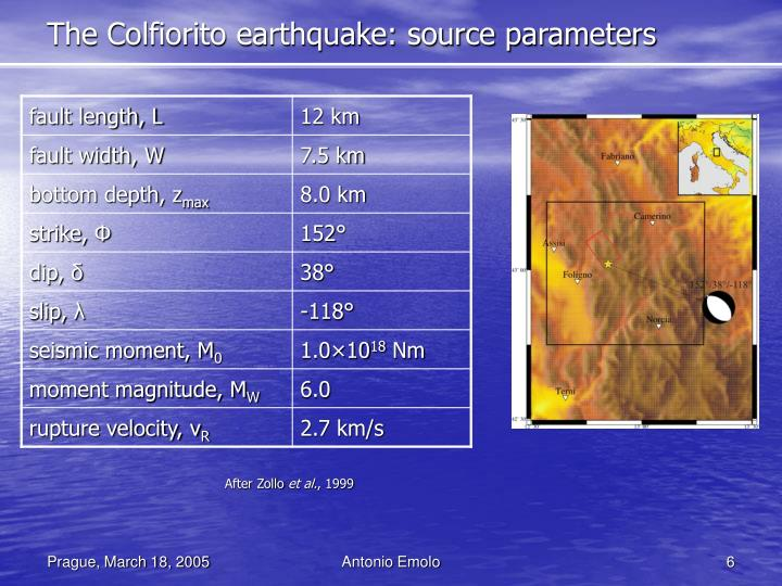 The Colfiorito earthquake: source parameters