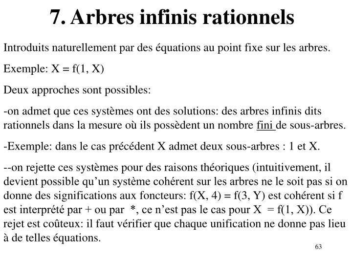 7. Arbres infinis rationnels