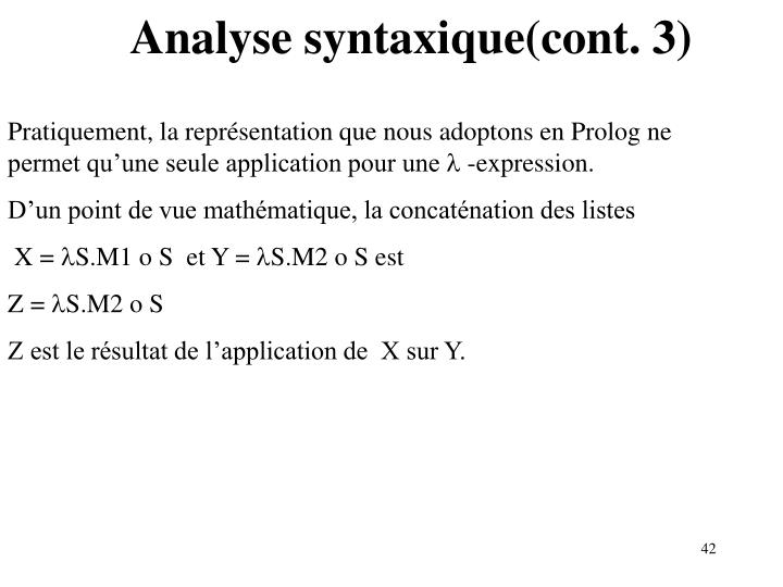 Analyse syntaxique(cont. 3)
