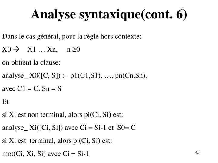 Analyse syntaxique(cont. 6)