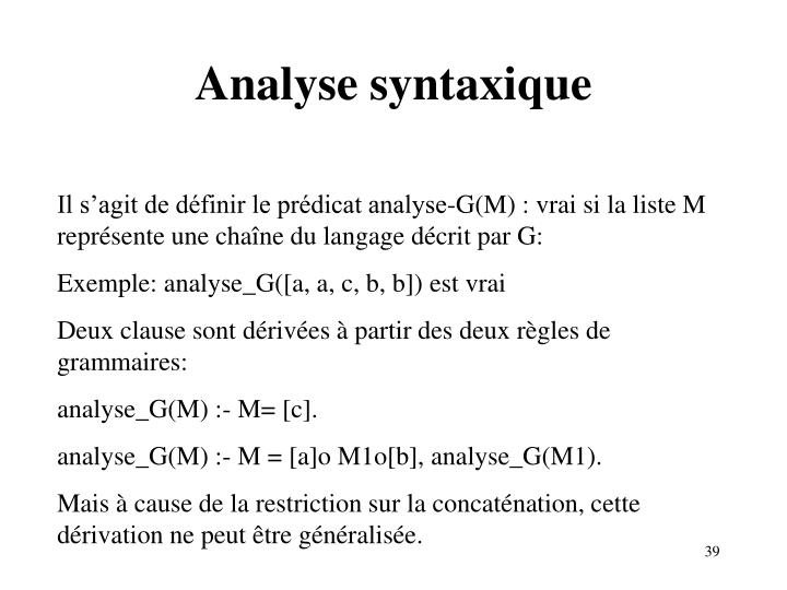 Analyse syntaxique