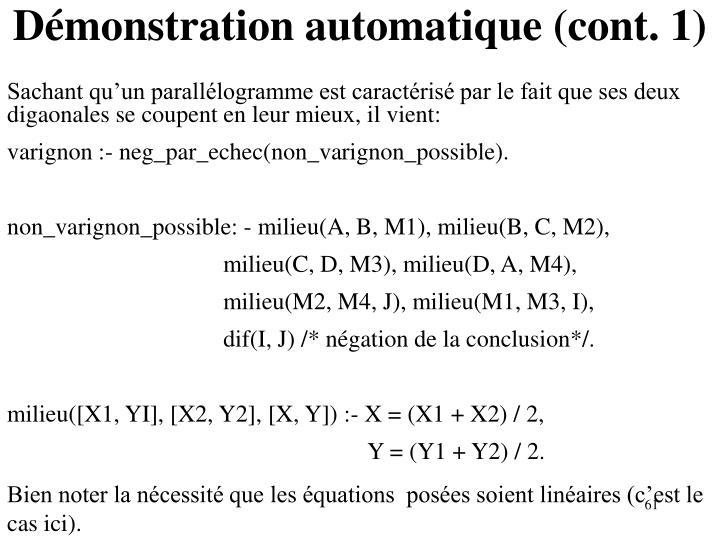 Démonstration automatique (cont. 1)