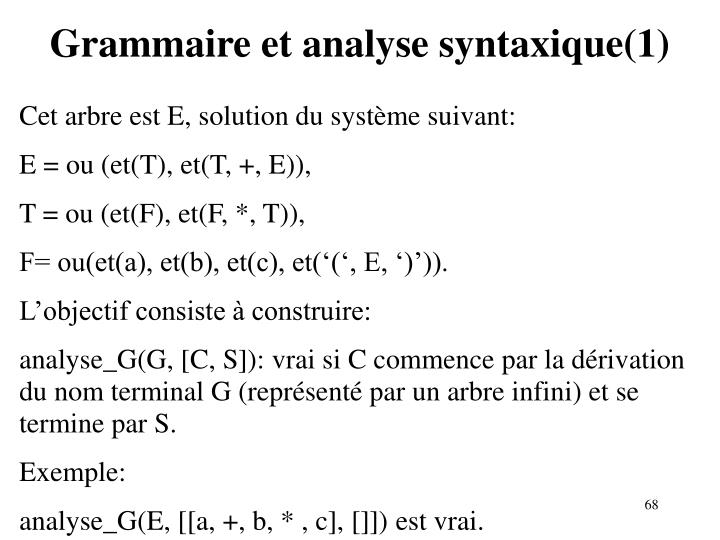 Grammaire et analyse syntaxique(1)
