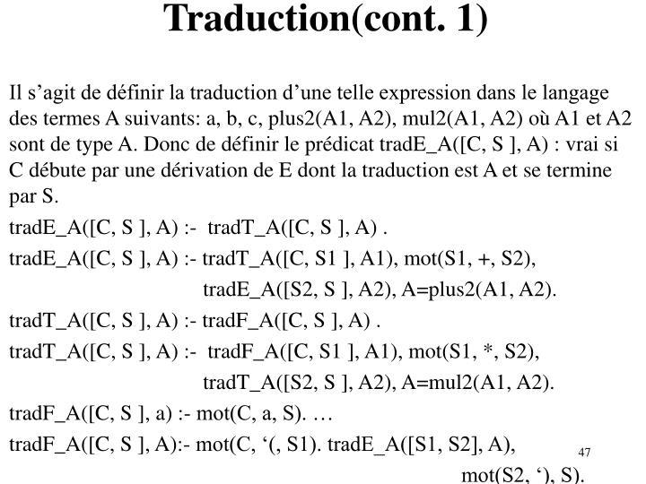 Traduction(cont. 1)