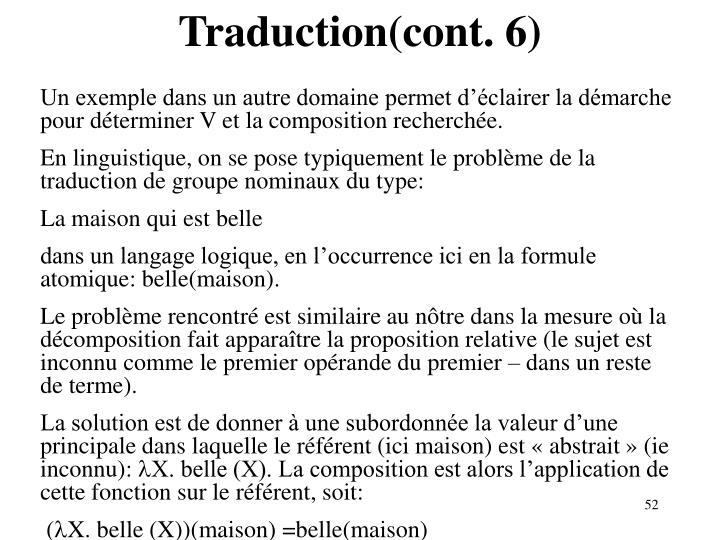 Traduction(cont. 6)
