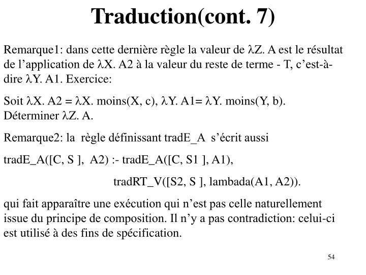 Traduction(cont. 7)
