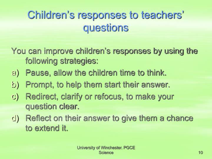 Children's responses to teachers' questions