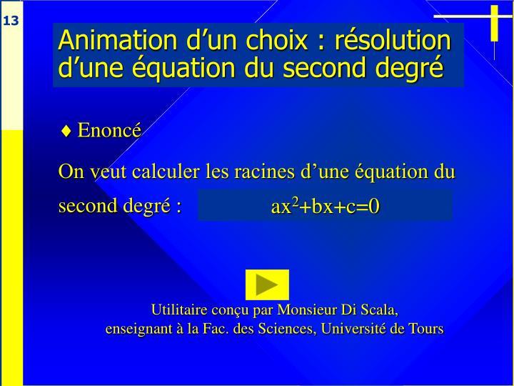 Animation d'un choix : résolution d'une équation du second degré