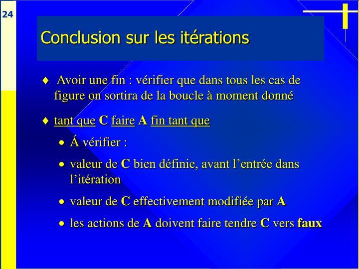 Conclusion sur les itérations
