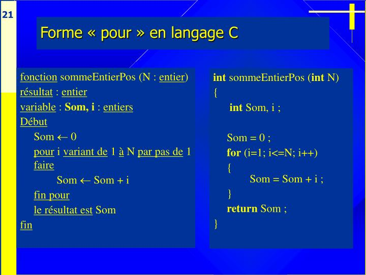 Forme «pour» en langage C