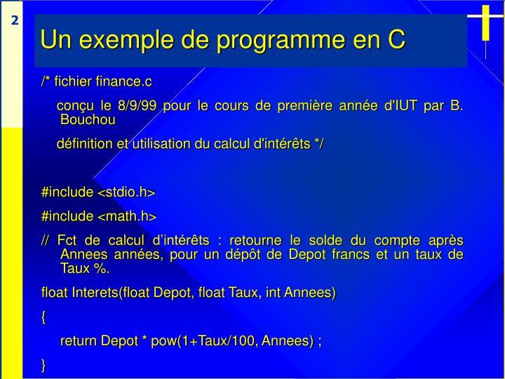Un exemple de programme en c