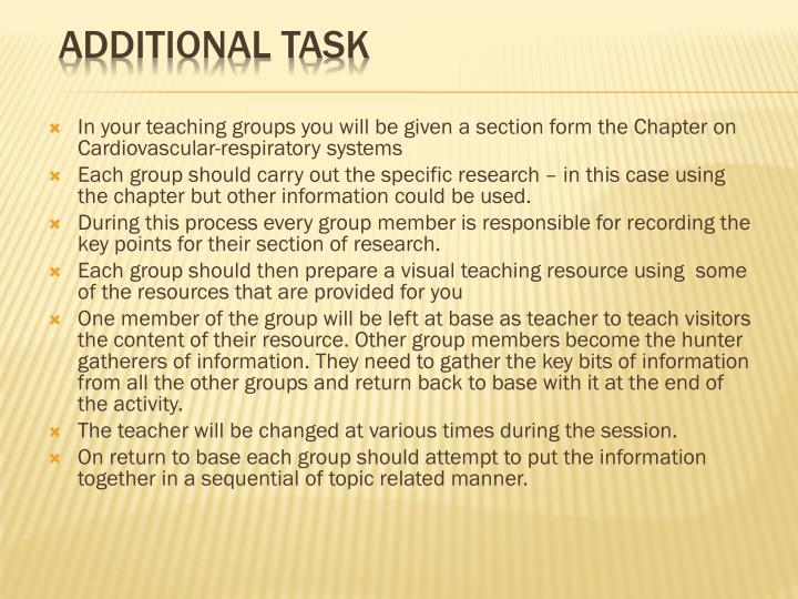 In your teaching groups you will be given a section form the Chapter on Cardiovascular-respiratory systems