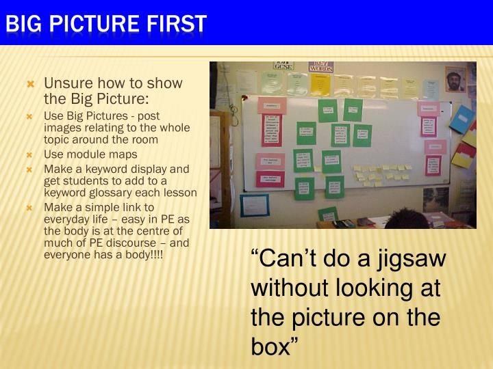 Unsure how to show the Big Picture: