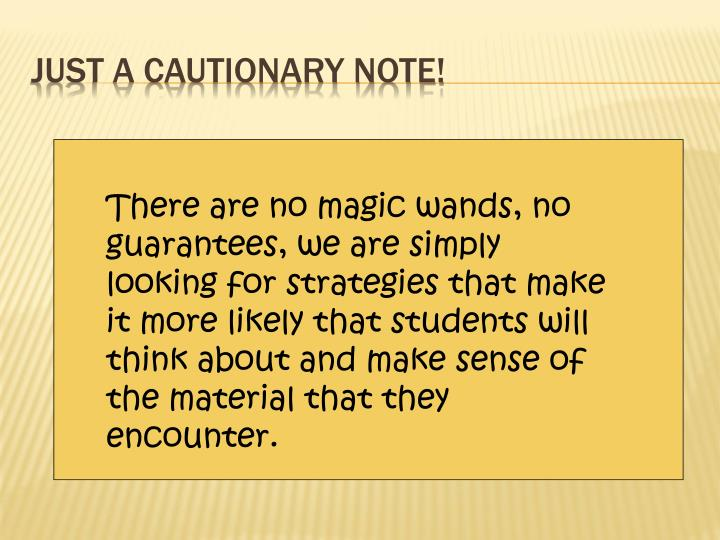 Just a cautionary note!